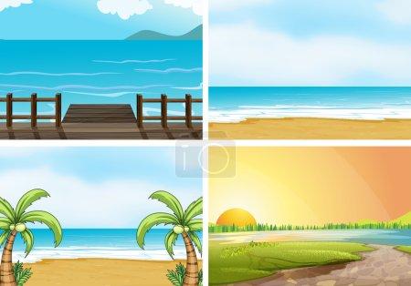 Illustration of four scenes of oceans...