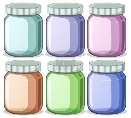 Illustration pour Illustration de six pots de couleurs différentes - image libre de droit