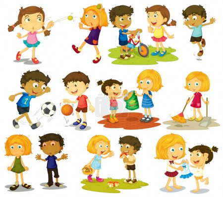 Illustration for Illustration of children doing different sports and activities - Royalty Free Image