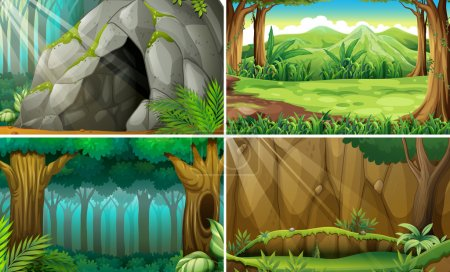 Illustration for Illustration of four scenes of forests and a cave - Royalty Free Image