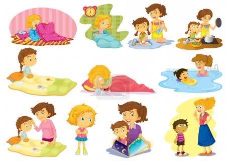 Photo pour Illustration d'enfants faisant de nombreuses activités - image libre de droit