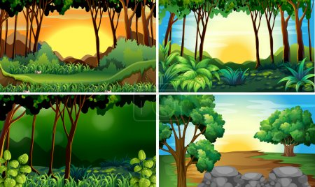 Illustration for Illustration of four different scene of forests - Royalty Free Image