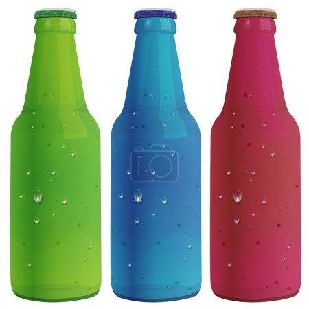 Illustration pour Illustration de trois bouteilles - image libre de droit