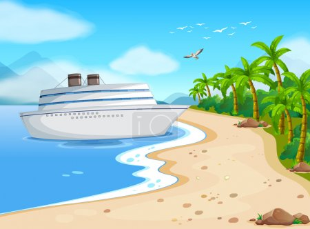 Illustration for Illustration of a cruise porting on the shore - Royalty Free Image