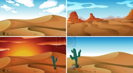 Illustration for Four scenes of deserts - Royalty Free Image