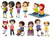 Many children in different actions