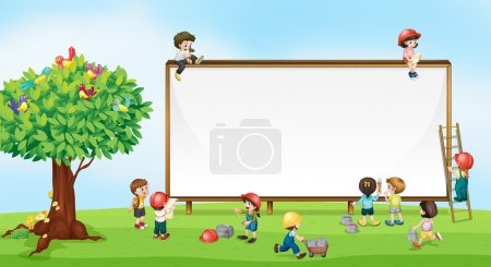 Illustration for Children playing in the garden - Royalty Free Image