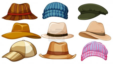 Illustration for Different kind of hipster hat - Royalty Free Image