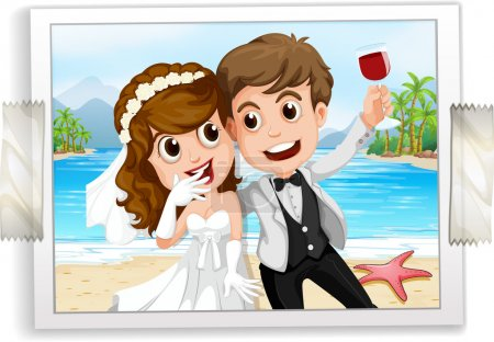 Illustration for Wedding couple photo with ocean view in the back - Royalty Free Image