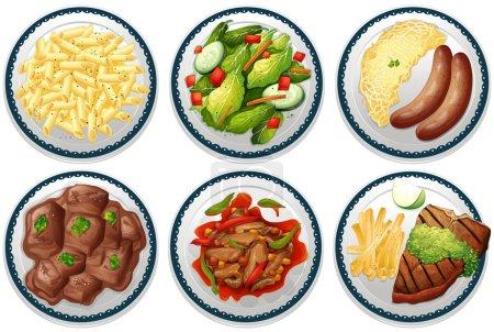 Illustration pour Six assiettes de plats principaux au menu - image libre de droit