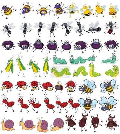 Illustration pour Différents types de petits insectes - image libre de droit