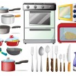 Different type of kitchen objects and electronic d...