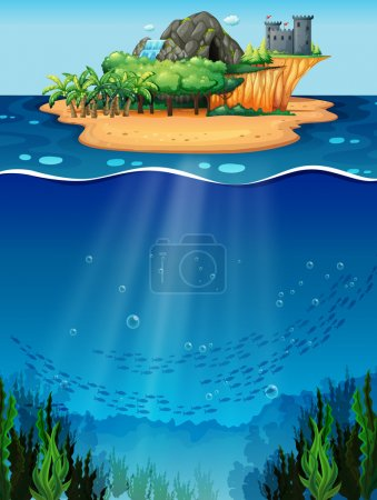 Illustration for Underwater scene with island on the top - Royalty Free Image