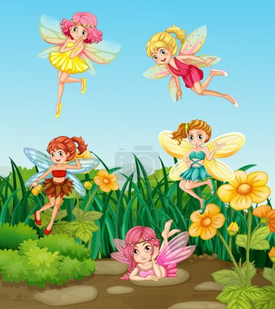 Illustration for Beautiful fairies flying in the garden - Royalty Free Image