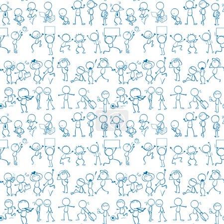 Illustration pour Sans couture gribouille les gens qui font des activités - image libre de droit