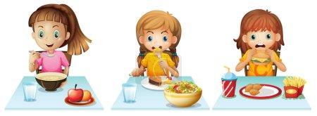 Illustration pour Les filles mangent à la table à manger - image libre de droit