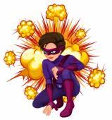 Superhero with cloud explosion