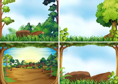Illustration for Four scenes of forest at daytime - Royalty Free Image