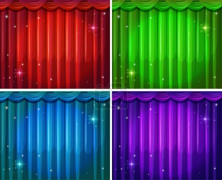 Illustration for Four different colors of beautiful curtains - Royalty Free Image