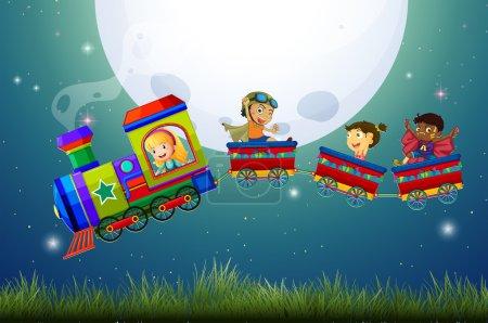 Illustration pour Garçons et filles dans un train la nuit - image libre de droit