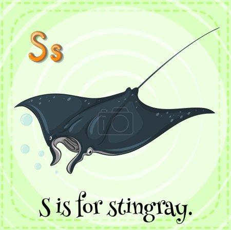 Illustration pour Flashcard lettre S est pour stingray - image libre de droit