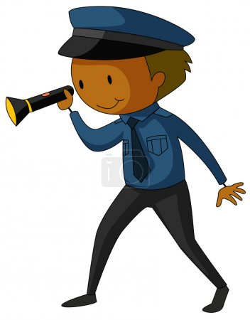 Illustration for Closeup security guard in uniform holding a flashlight - Royalty Free Image