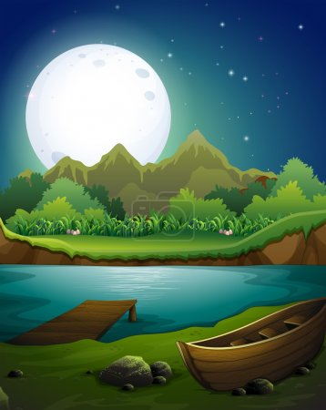 Illustration for Landscape with  River scene on the full moon night - Royalty Free Image