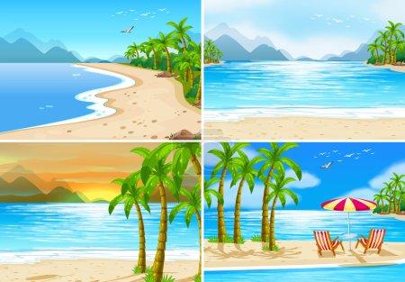 Four beach scenes
