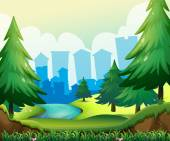 Forest view illustration with city buildings behind