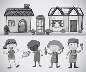 People standing in front of the houses doing gardening in black and white