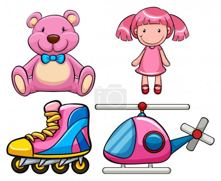 Illustration for Set of pink toys in classic design - Royalty Free Image