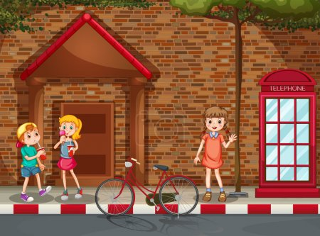 Illustration for Children hanging out by the street - Royalty Free Image
