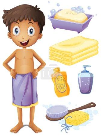 Man in towel and bathroom set