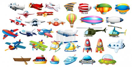 Illustration for Airplane toys and balloons illustration - Royalty Free Image
