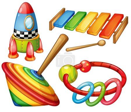 Illustration for Colorful wooden toys set illustration - Royalty Free Image