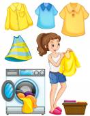 Woman doing laundry work illustration