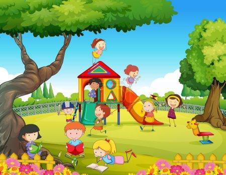 Illustration pour Enfants jouant dans l'illustration de l'aire de jeux - image libre de droit