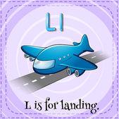 Flashcard letter L is for landing