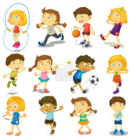 Illustration for Boy and girl doing many activities illustration - Royalty Free Image