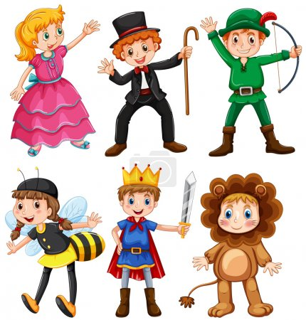 Illustration for Boys and girls in fancy costumes illustration - Royalty Free Image