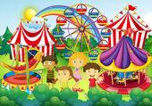 Children having fun in the circus illustration