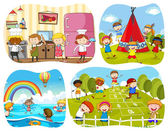 People in four different scenes illustration