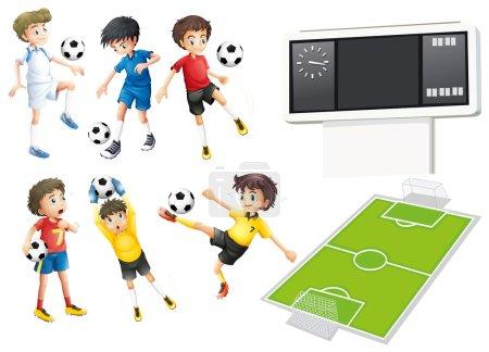 Illustration pour Les joueurs de football et l'illustration de champ - image libre de droit