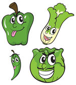 Green vegetables with facial expressions