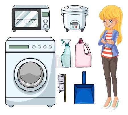 Illustration pour Illustration femme et objets ménagers - image libre de droit