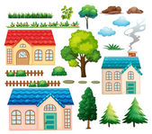 Houses and different plants