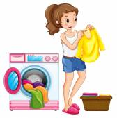 Woman washing clothes in the house