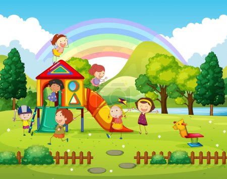 Illustration for Children playing in the park at daytime illustration - Royalty Free Image