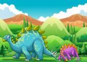 Cute dinosaurs walking in the field