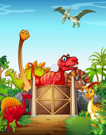 Dinosaurs in a dino park